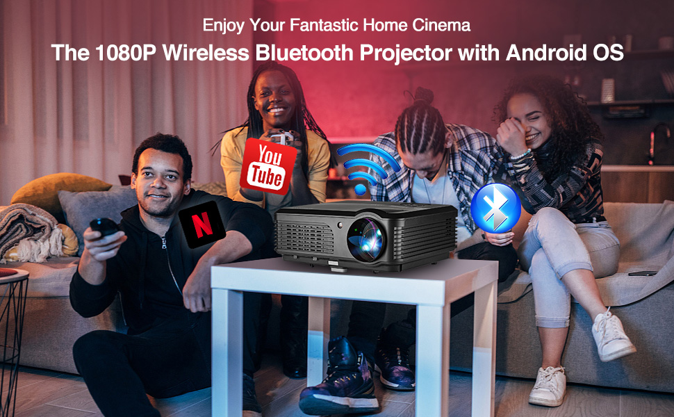 home theater projector, wifi projector, bluetooth projector, wireless projector