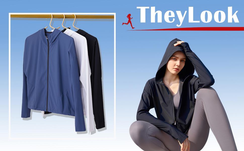 TheyLook womens lightweight track jackets yoga running jackets
