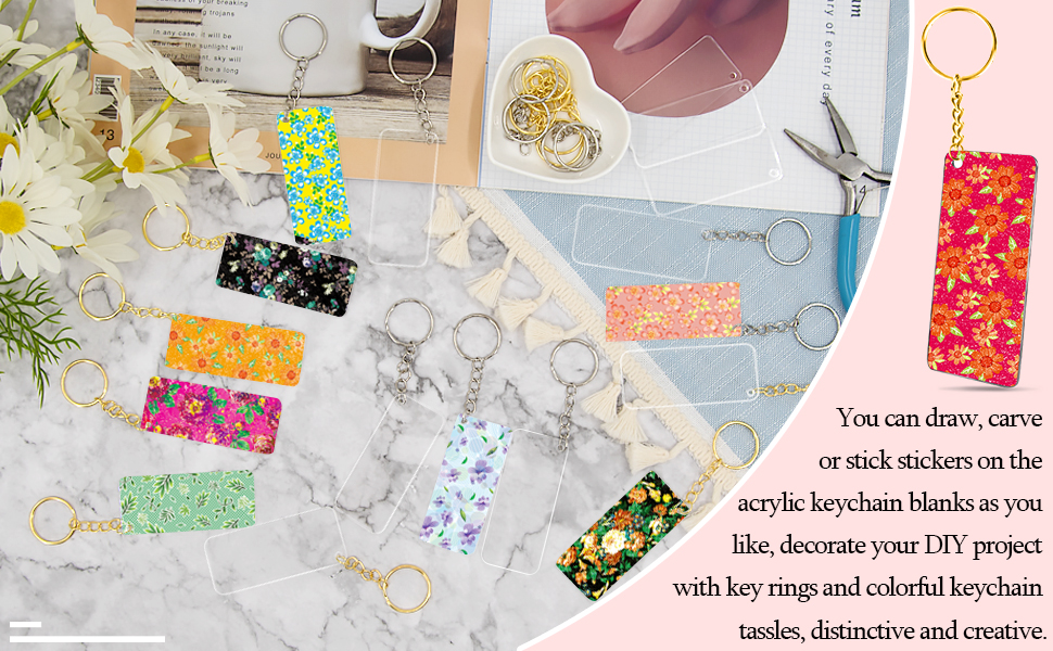 You can draw, carve or put sticker on the acrylic keychain blank, distinctive and creative