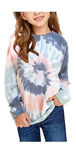Girls Tie Dye Hoodies Sweatshirts Loose Casual Long Sleeve Pullover Hooded Tops