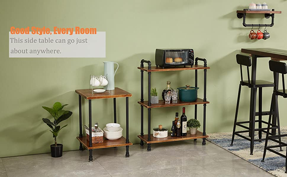 Classic vintage industrial style is what this wood and metal end table