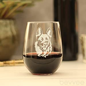 Adorable design of a happy German Shepherd face, engraved onto a stemless wine glass.