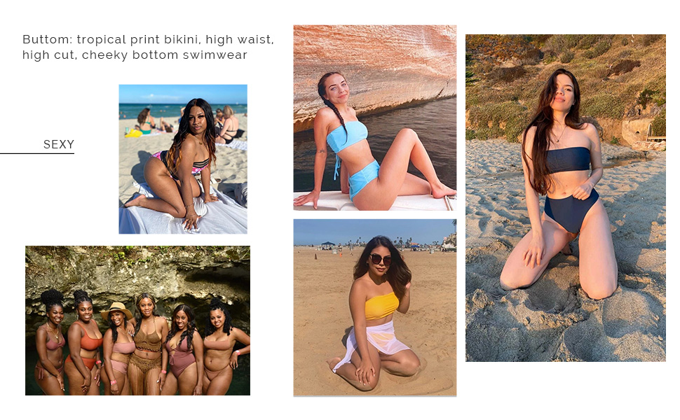 SweatyRocks Strapless Bathing Suit Lace Up Bandeau Bikini Set