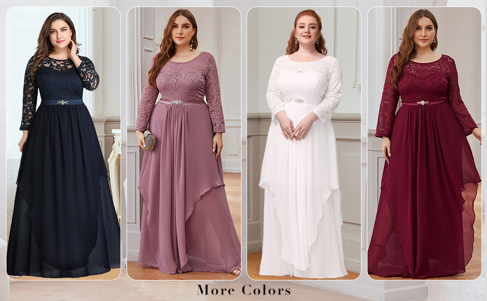 Ever-Pretty womens plus size evening dresses with sleeves lace party dresses mother's dresses