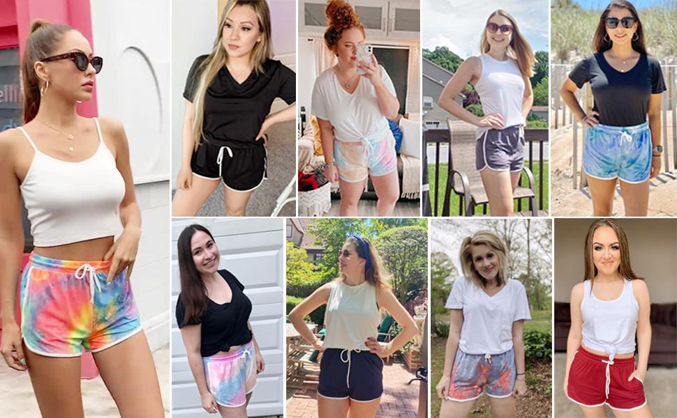 shorts women casual summer tie dye athletic shorts