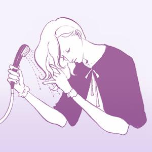 ケープをした女性が カラーの色がでなくなるまで 髪の毛をシャワーでよく すすいでいるイラスト