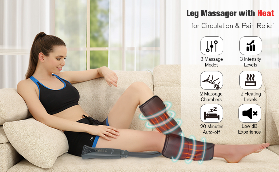 FIT KING Leg Air Massager with Heat for Circulation amp; Pain Relief