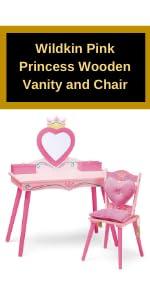 Wildkin Pink Princess Wooden Vanity and Chair