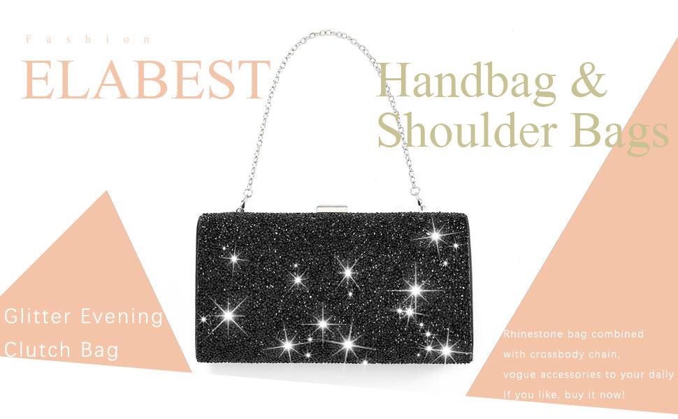 ELABEST Glitter Evening Clutch Bag Black Rhinestone Handbag Bling Shoulder Purse Wedding Party Bag