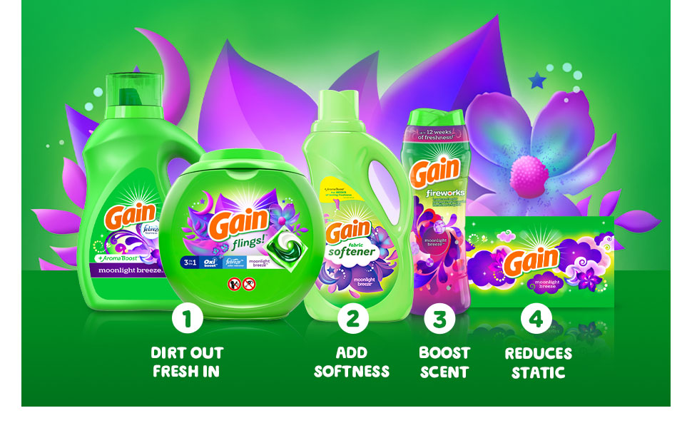 1 Dirst out fresh in 2 Add softness 3 Boost scent 4 Reduce static