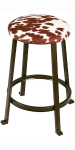 bar stools, chairs, set, kitchen, counter, metal frame, cow print, linen, farm style, cowhide
