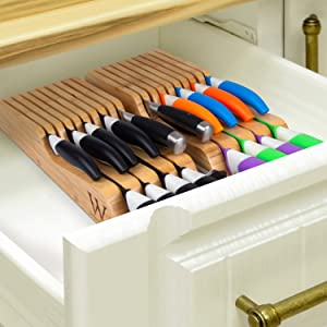 This drawer knife block serves as a perfect tool to organize your knives in your kitchen drawer