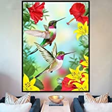 Diamond Painting Kits for Adults,Hummingbird Flowers Gifts