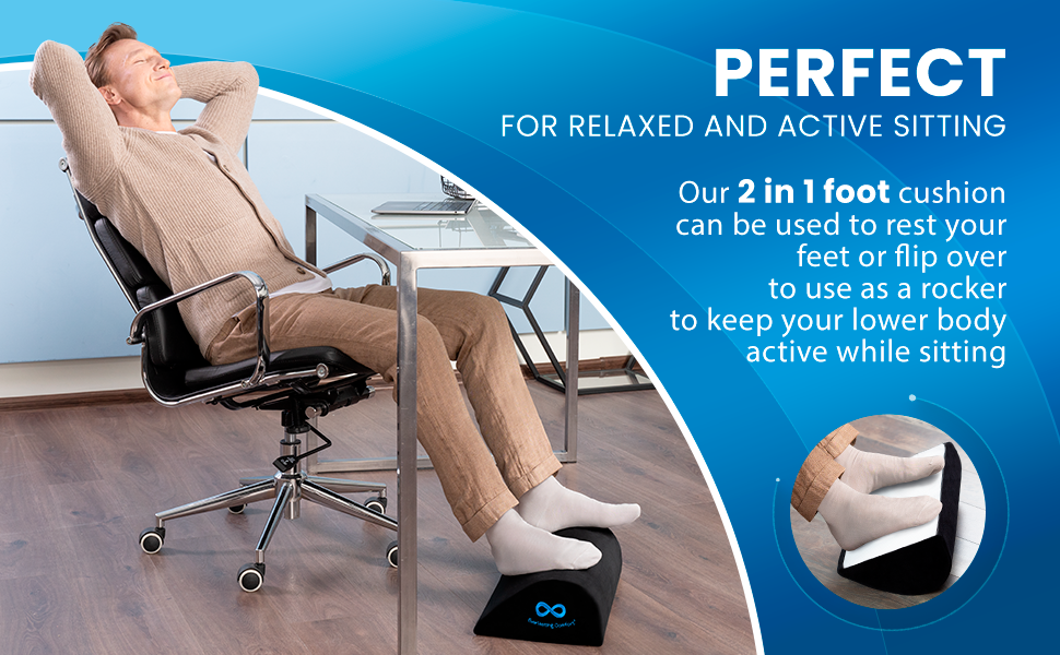 Under desk foot stool can be used to relax your feet or flip over and used as a rocker