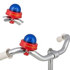 Fietsbel voor kinderen, brandweersirene blauw licht