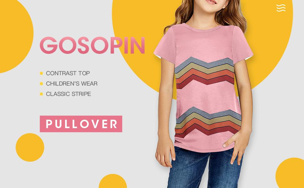 Girl's Basic Crewneck Tee Top Short Sleeve T-Shirt Stripe Print Color Block Blouse