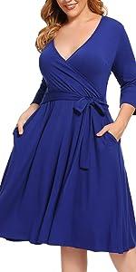 V-Neck 3/4 Sleeve Plus Size Knee-Length Sheath Swing Dress