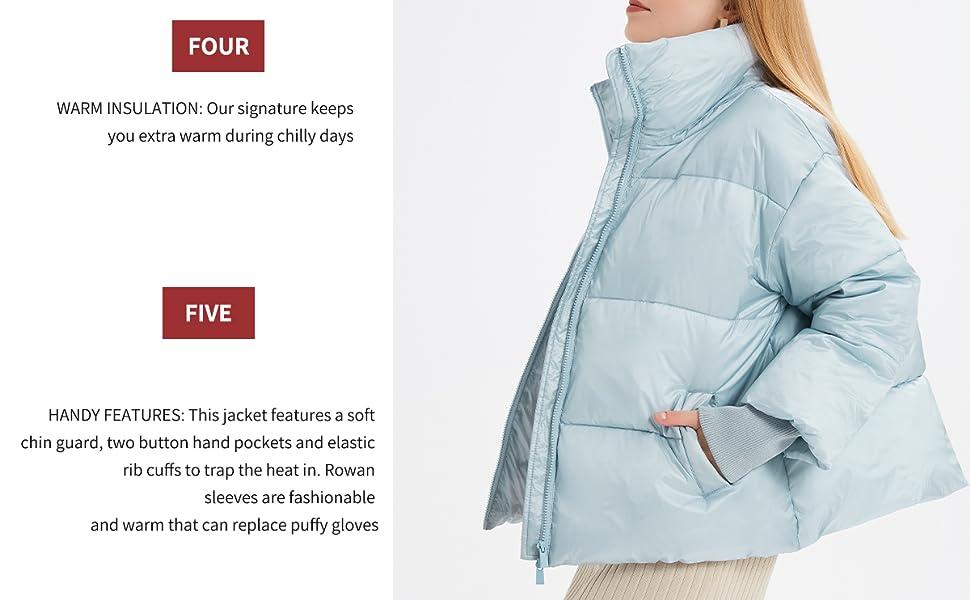 light blue chic winter warm puffer down jackt