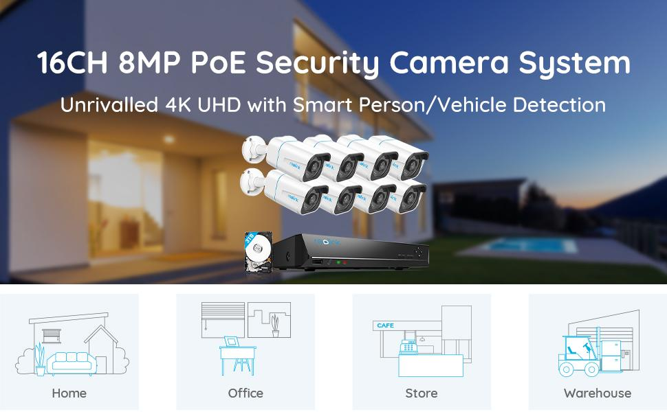 16CH 4K POE security camera system
