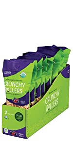 Friendly Grains Crunchy Rollers Mix Berry. Allergen Friendly puffed brown rice snacks.