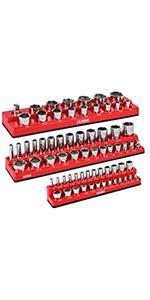 3-Piece Set SAE Magnetic Socket Organizers
