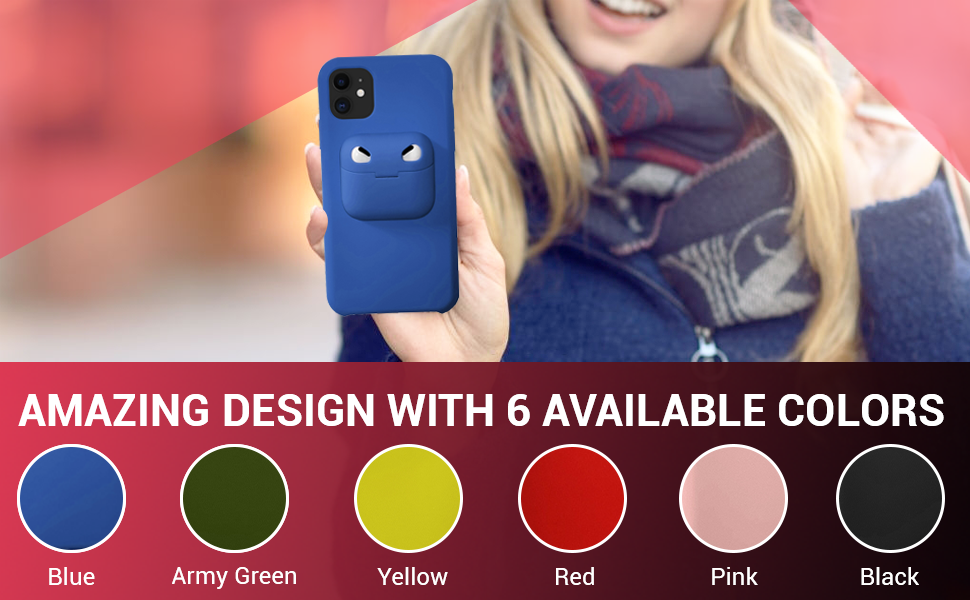 A young lady is holding a blue ComforHurry iPhone case, Available colors are shown at the bottom