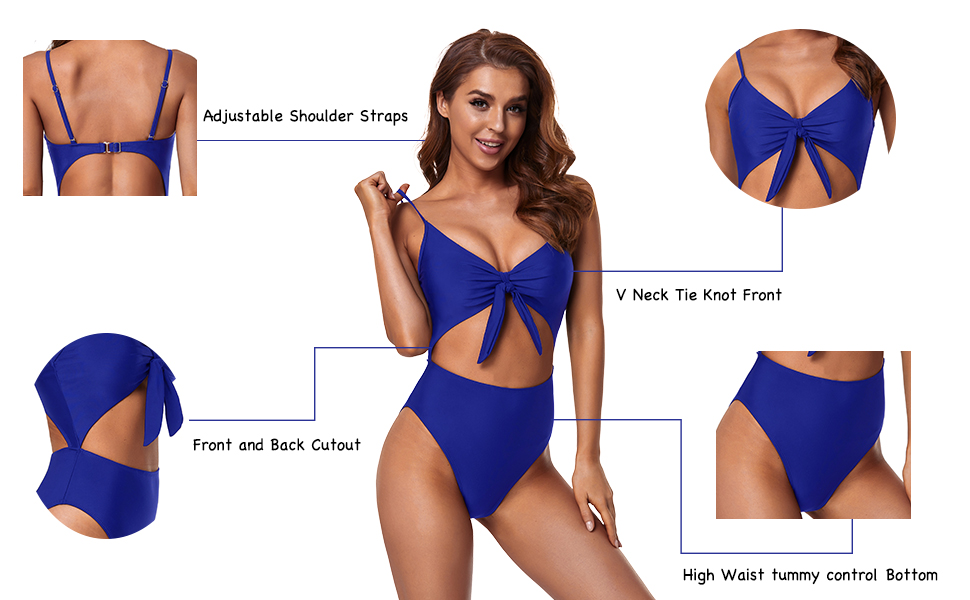 Tempt Me Womens One Piece Cut Out Swimsuit High Waisted Tie Knot Front Bathing Suit
