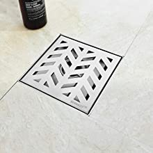 """6"""" Square Shower Drain Brushed"""