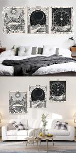 long tapestry vertical plain white tapestry pentagram tapestry obx tapestry tarot wall art