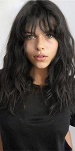 natural wave wig with bangs