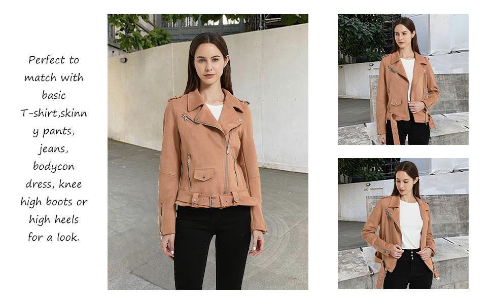Women's Faux Suede Leather Jacket, Motorcycle Short PU Coat Moto Biker Fitted Slim Outwear