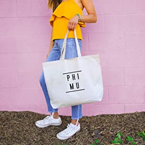 Phi Mu Sorority Tote Bag - Classic Design with Double Line