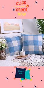 light blue Buffalo Check Pillow Covers