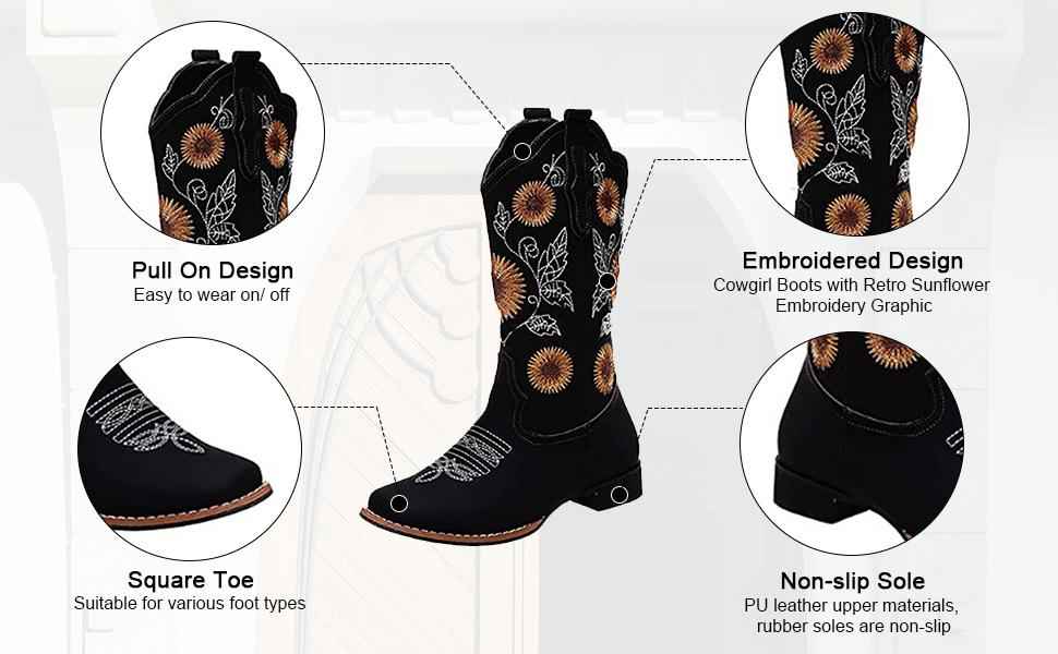 women cowgirl cowboy boots for women retro western boots mid calf western chunky boots for women