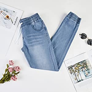 Women's high waist jeans straight slim denim stretch long jeans with elastic band