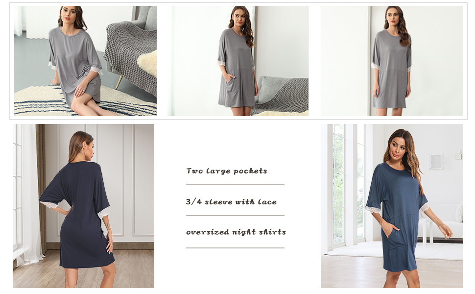 YYA Women nightgowns with Pocket Lace Trim Comfy Nightshirt.