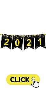 Gold glitter 2021 Graduation Banner
