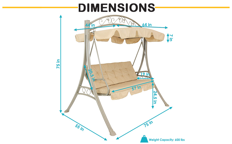 """Swing is 75"""" L x 55"""" W x 75"""" H overall. Supports up to 600 lbs"""