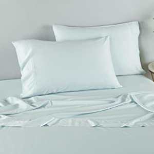 bamboo bed sheets sky blue