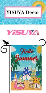 YISUYA gnome beach summer garden flag