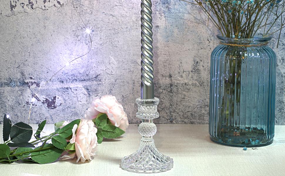 Clear Glass Taper Candlestick-10