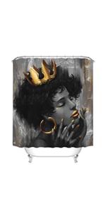 African Woman Bathroom Curtain Black Women with Gold Crown Bath Curtain for Shower