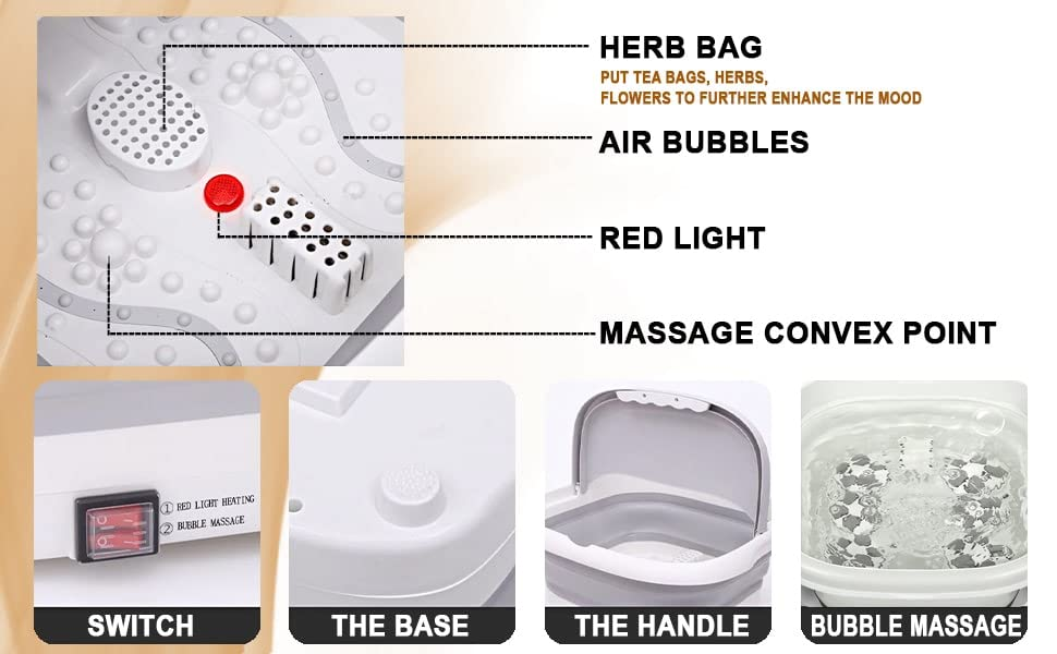 Walkent Foot Spa and Bubble Massager - Foldable Pedicure Tub, portable, feet care