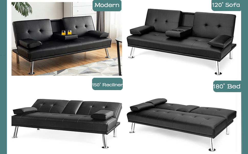 Sectional Sleeper Sofa for Small Space with Cup Holder and Removable Armrest