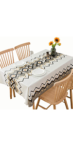 DUOFIRE Vinyl Tablecloth White Background Geometric Pattern Square Heavy Weight Table Cover Wipe