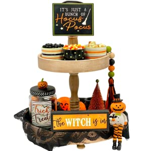 All nine items displayed on a tiered tray with no background