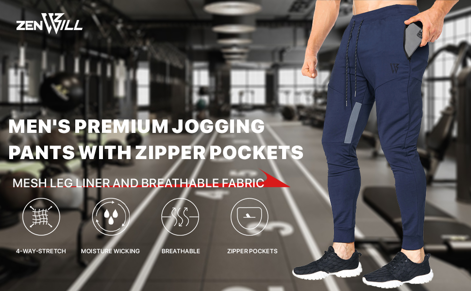 Mens Tapered Workout Running Pants, Jogger Training Sweatpants Slim Fit with Zip Pockets