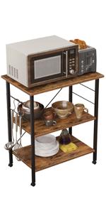 Kitchen Baker's Rack, Kitchen Island Utility Storage Shelf Microwave Oven Stand Cart