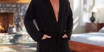 Man wearing spa robe