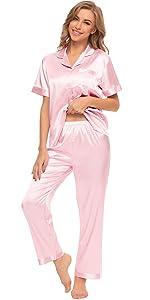 Womens Short Sleeve Satin Pajama Set